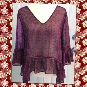 Maroon and Black Sheer, flowy blouse, Size Medium